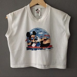 Vintage Cool Surfin' Mickey Mouse Disney Crop